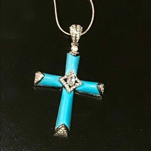 Enamel cross pendant, statement piece